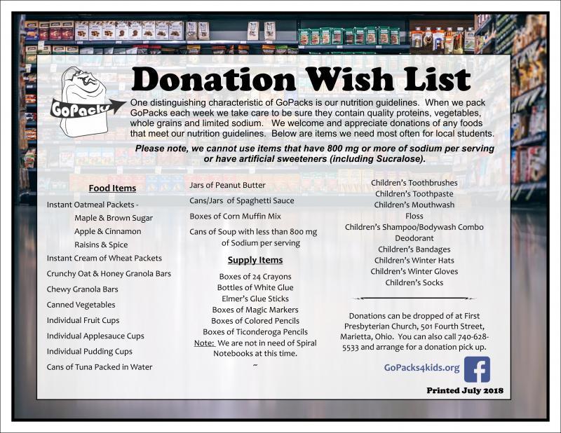 GoPacks - Donate ~ Food & Supplies